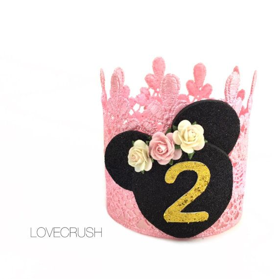 Birthday Mouse vintage pink + gold lace crown || headband || photo prop || customize ANY AGE #crownheadband