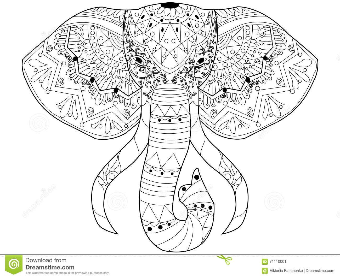 Elephant Coloring Vector For Adults Stock Vector - Image: 71110001 ...