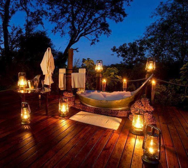 Outdoor Bath night home outdoors candles bath evening lantern deck bathtub exterior design