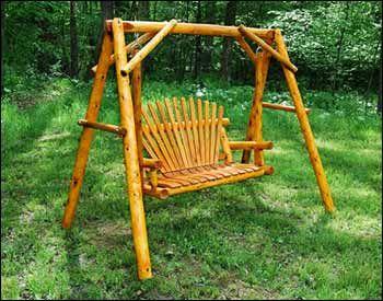 White Cedar Stained Love Seat Swing W Stand Lawn Swing