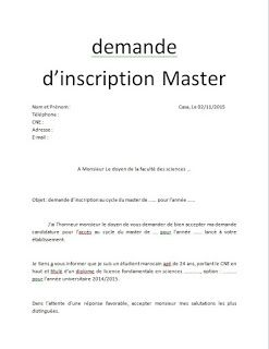 Exemple De Modeles De Demande D Inscription Au Master Ou Licence