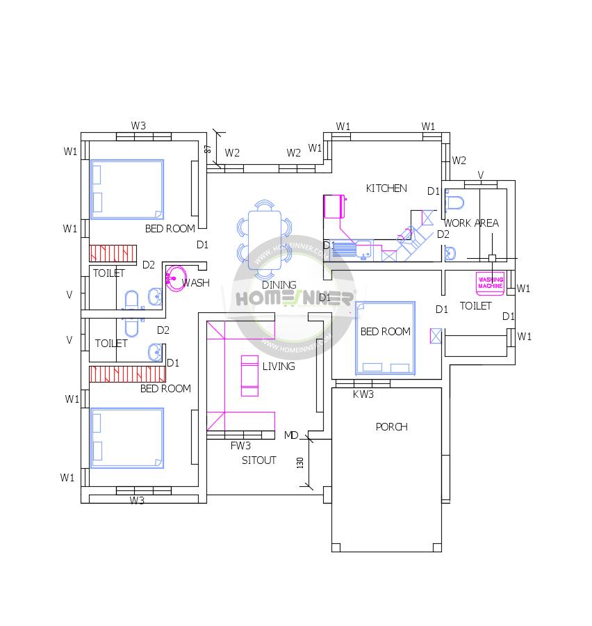 Free Three Bedrooms 1200 Square Feet Low cost Villa floor ...