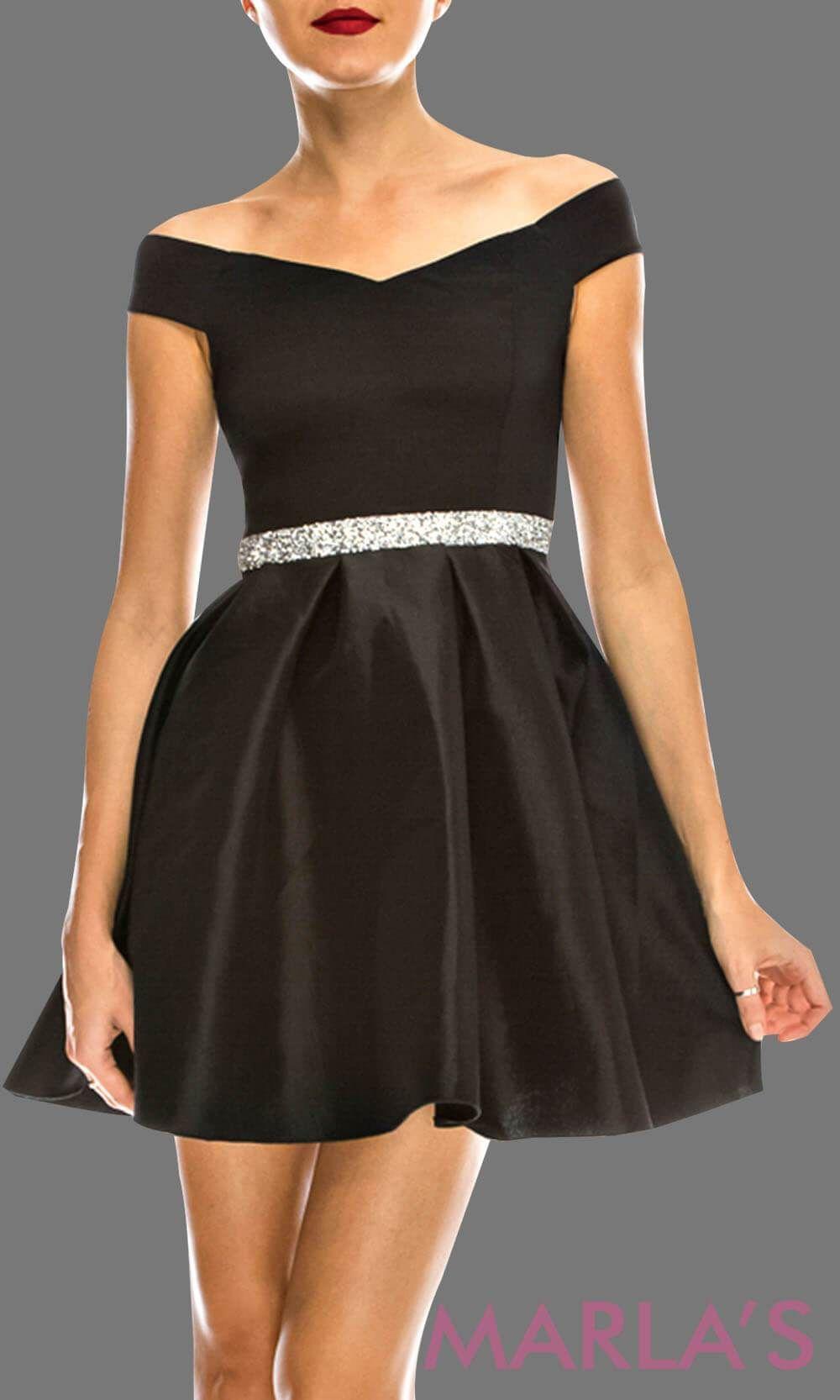 ebacac807d Simple short black off shoulder grade 8 grad taffeta dress with rhinestone  belt. Perfect black