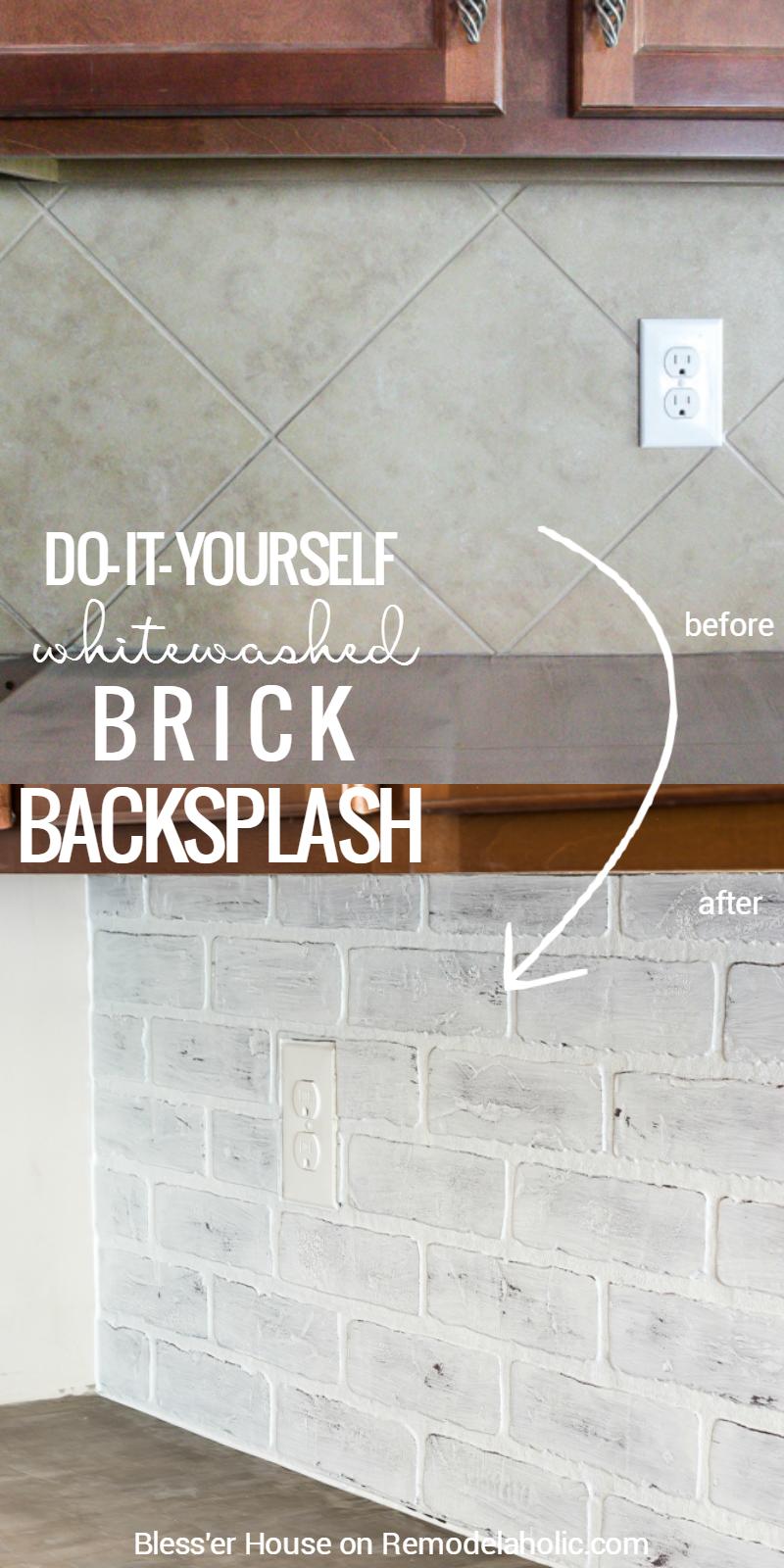 This whitewashed faux brick backsplash is the