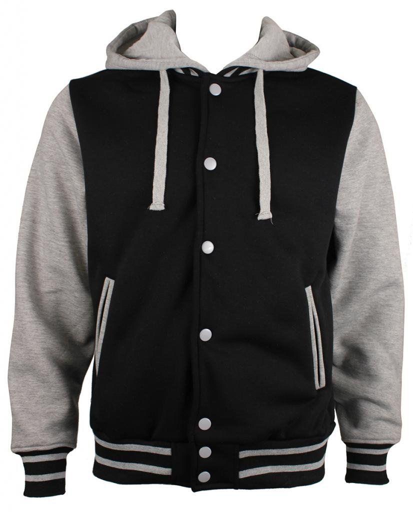 Letterman Varsity Baseball Hoodie Mens Jacket Removable Hood 2xl Black Gray At Amazon Men S Clothing Store Jackets Baseball Hoodie Mens Jackets