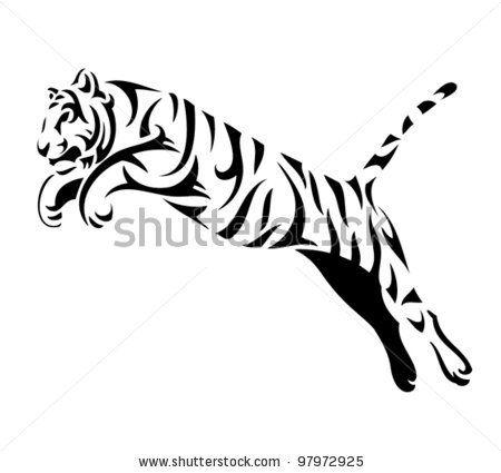 stock vector tribal tiger jump vector tattoo 97972925 jpg 450 425