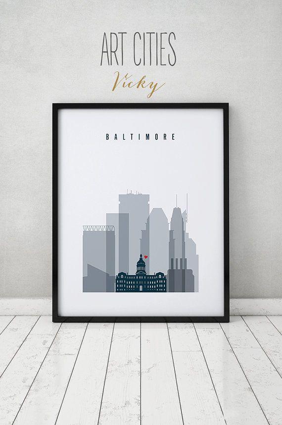 Baltimore art print, Poster, Wall art, Baltimore skyline, Maryland