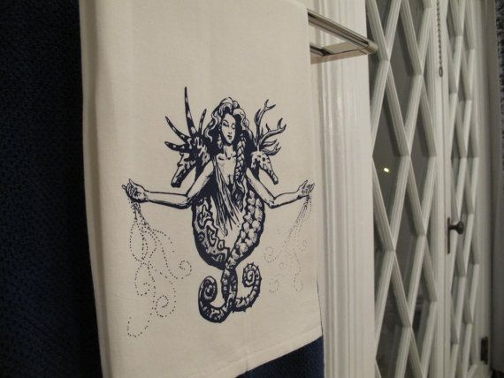 White cotton hand towel screenprinted with graphic by SalaciaSalts, $15.00