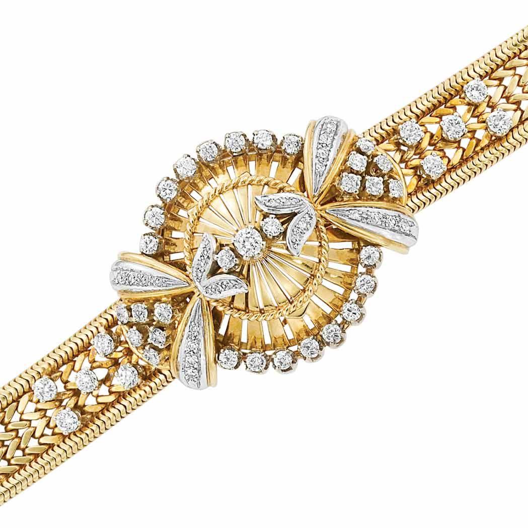 Circa gold and diamond braceletwatch rolex kt