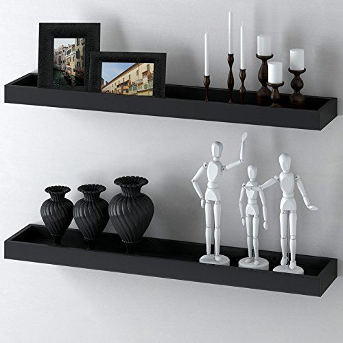 Modern Home Black Floating Tray Wall Wedge Shelf 32 X 6 Inch Fasthomegoods Http Www Amazon Com Dp B00ub05 Wall Mounted Shelves Floating Wall Floating Shelves