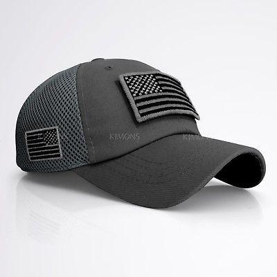 USA Flag Distressed Trucker Ball Cap Low Profile  Cotton Mesh Dark Gray Hat USA