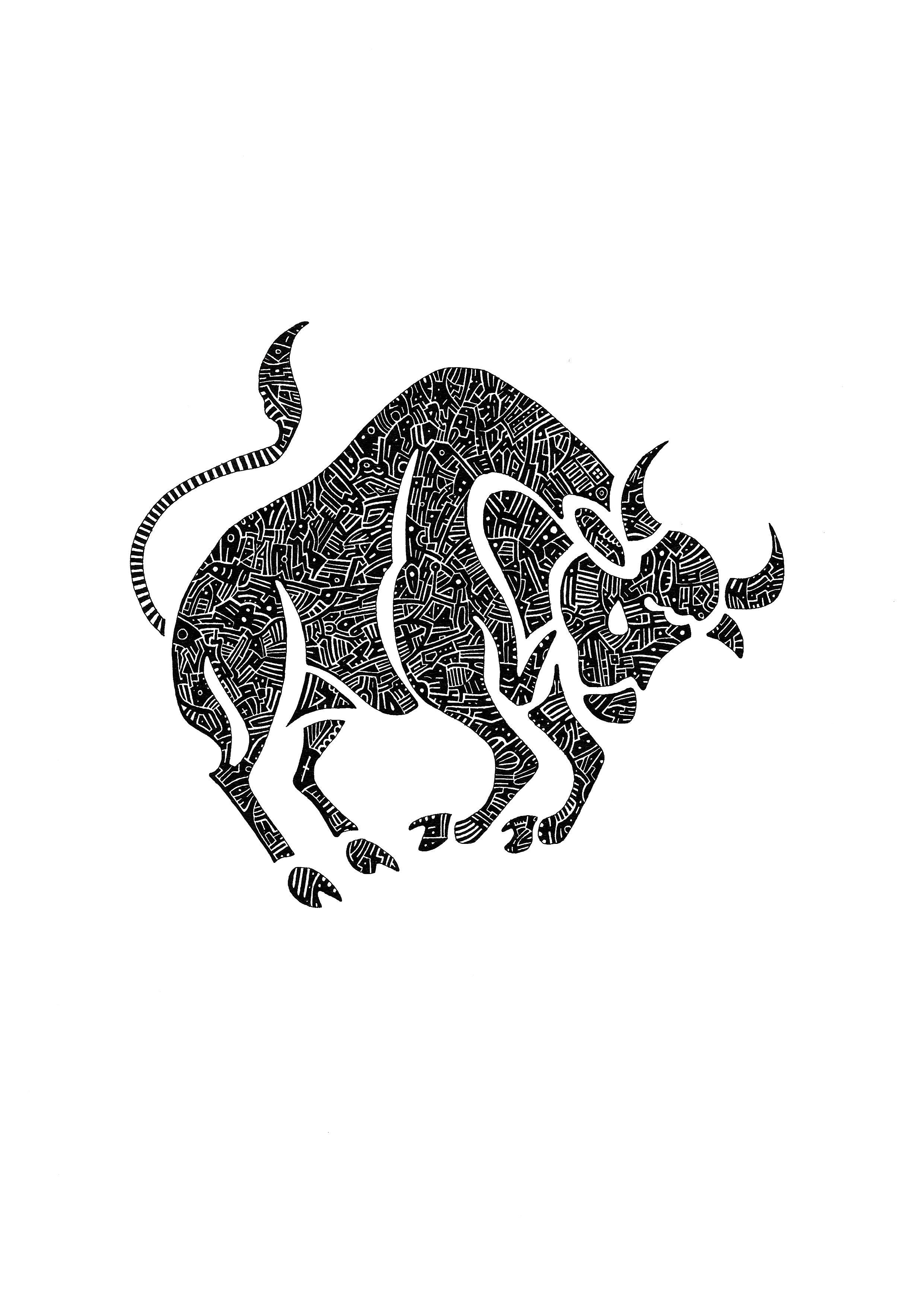 Taureau mes dessins taureau langage graphique e dessin - Apprendre a dessiner un bison ...