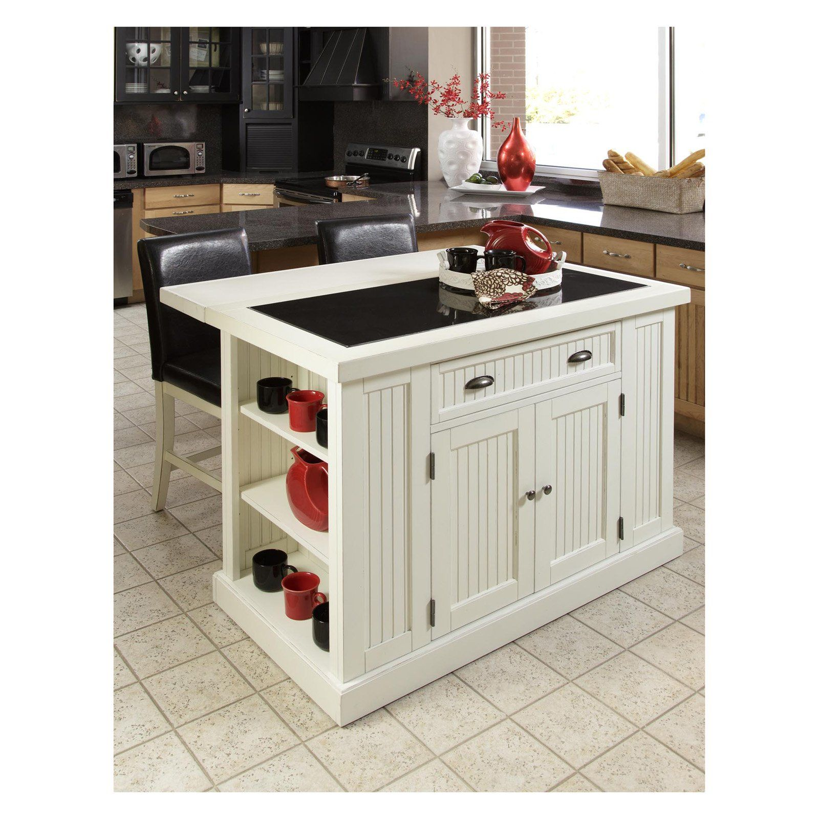 Home Styles Nantucket Kitchen Island With Two Stools Distressed White Portable Kitchen Island Kitchen Island With Granite Top Home Depot Kitchen