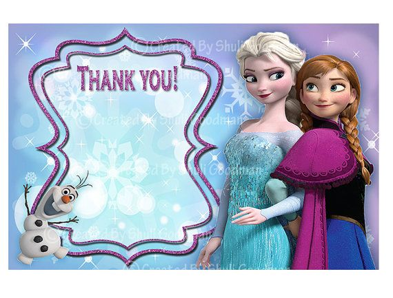 Frozen Thank You Cards Printable Diy Digital By Cupcaketops 3 00 Frozen Invitations Free Thank You Cards Frozen Printables