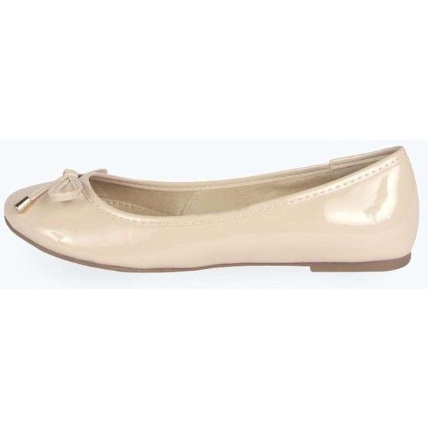 dfc2f93ca4bbd Boohoo Jess Bow Trim Ballet Pump ($14) ❤ liked on Polyvore featuring shoes,  nude, hi tops, ballerina flat shoes, loafers flats, nude ballet flats and  ...