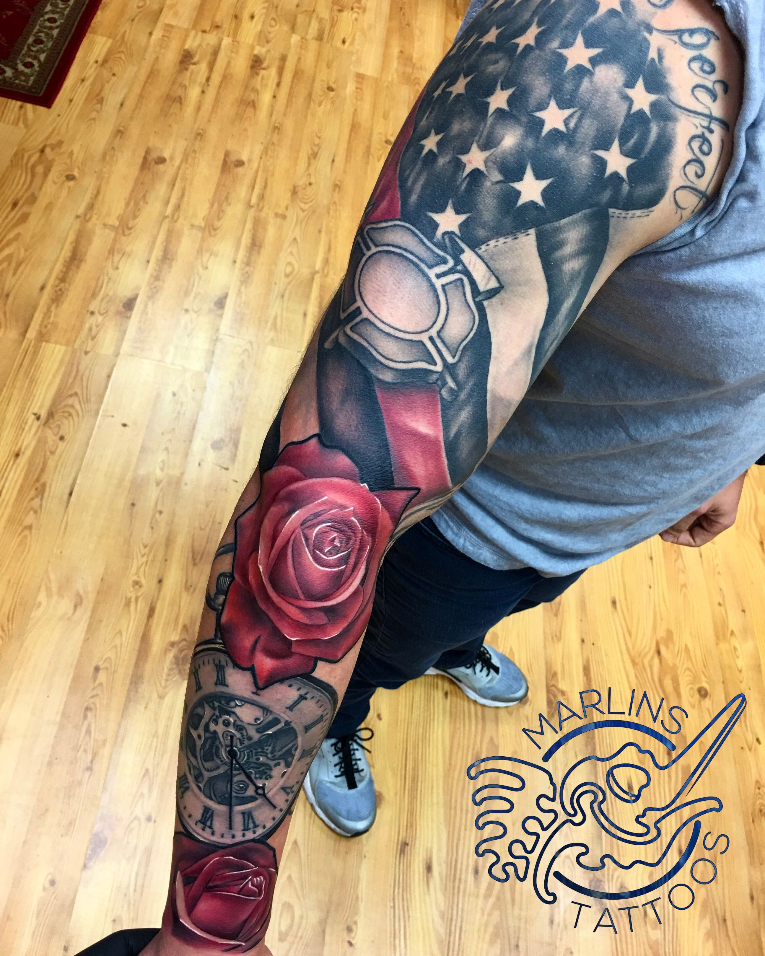 American Flag Rose And Compass Tattoo Color Tattoo