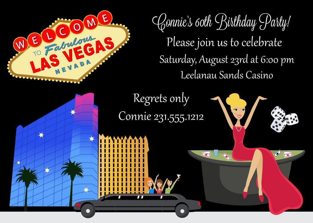Casino Birthday Invitations Las Vegas Themed Adult Birthday – Las Vegas Party Invitations