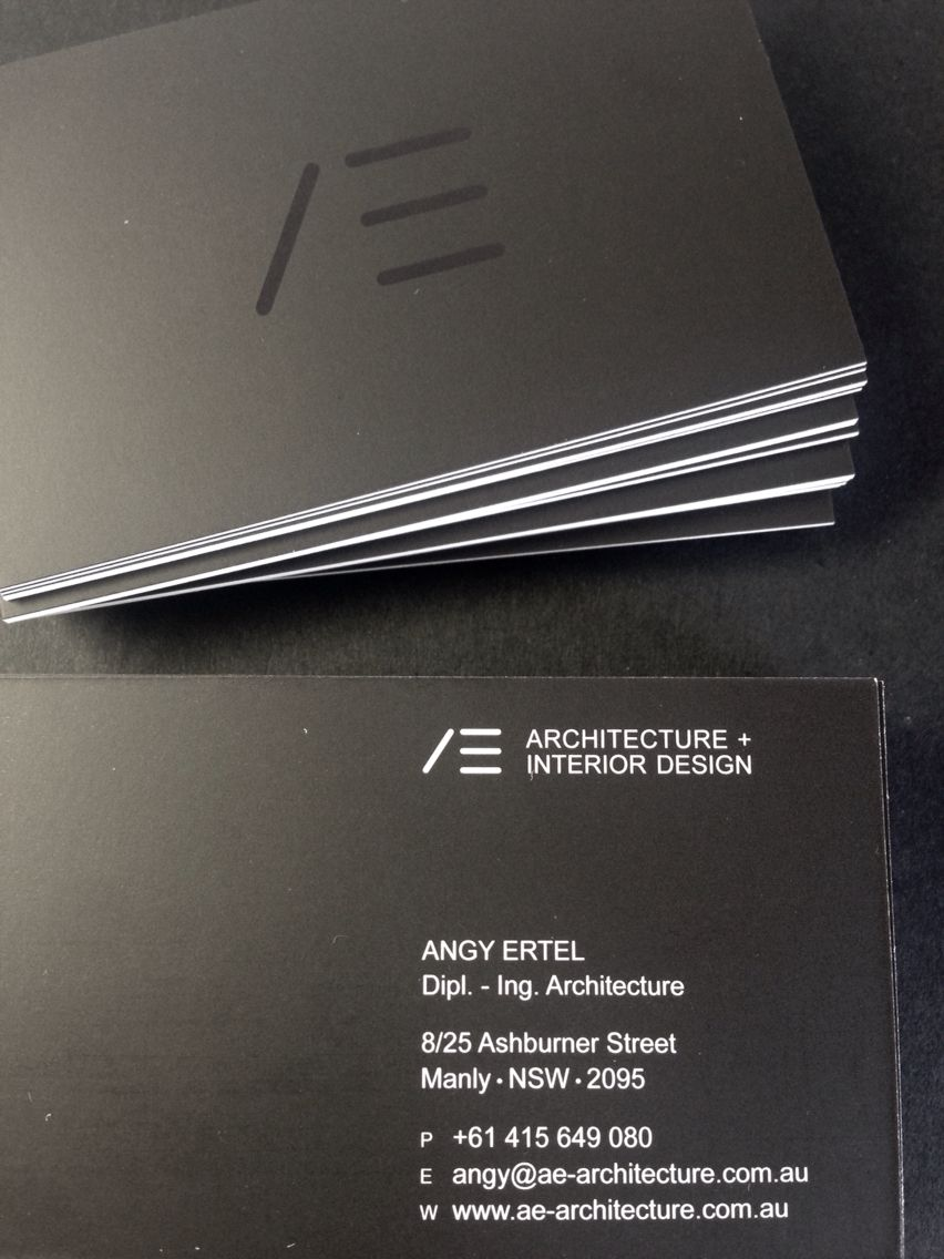 Minimal Black and White Business Card@AE architecture+interior ...