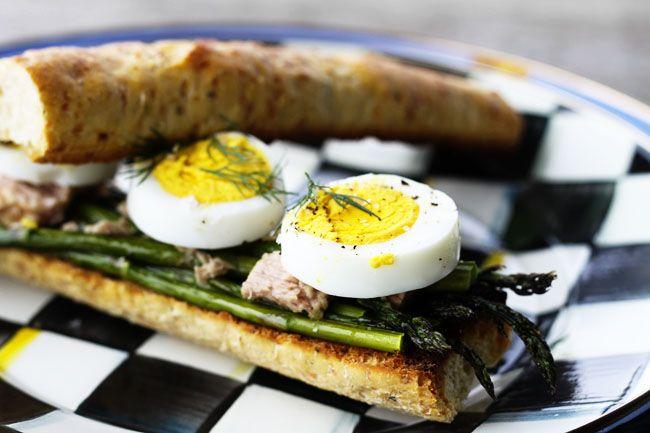 French Roasted Asparagus, Tuna and Hardboiled Egg Sandwiches