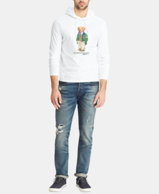 a0bd7665 Polo Ralph Lauren Men's Big & Tall Polo Bear Hooded Long-Sleeve T-Shirt -  White 3XL
