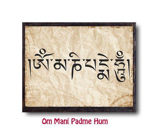 Buddhist Zen Wall Decor Print Buddhist Tibetian Prayer Mantra Om Mani Padme Hum Print Wall Decor Yoga Boho Gift Poster Wall Prints Digital Prints Boho Gifts