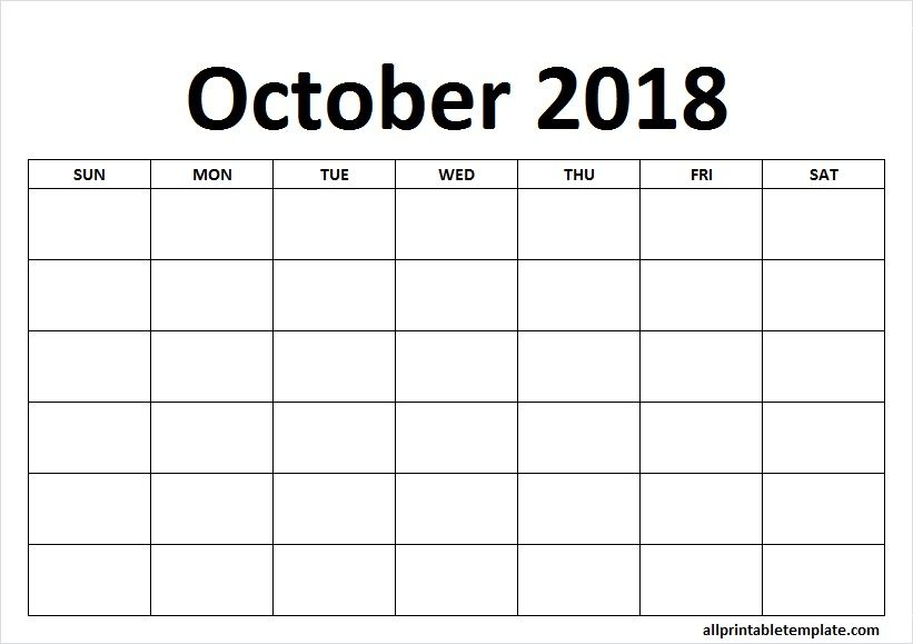 Free Download all Printable Template for October 2018 Blank Calendar