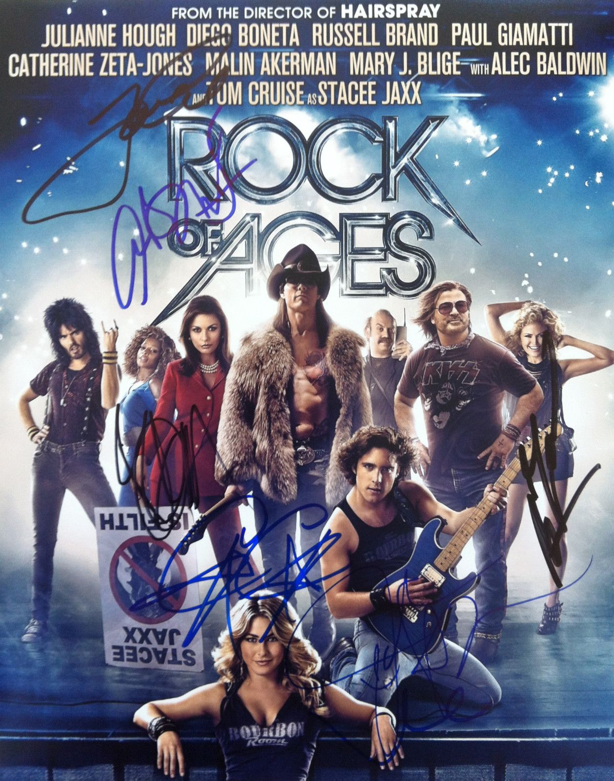 Rock of Ages Cast 7 Signed 11x14 Photo Tom Cruise C C