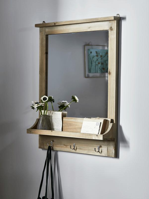 Rustic Wooden Shelf Mirror Wall Mirrors Mirrors Rustic