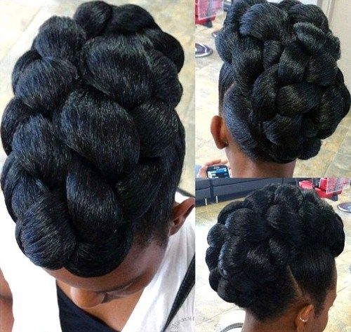 50 Cute Updos for Natural Hair | Black braided updo, Black braids ...