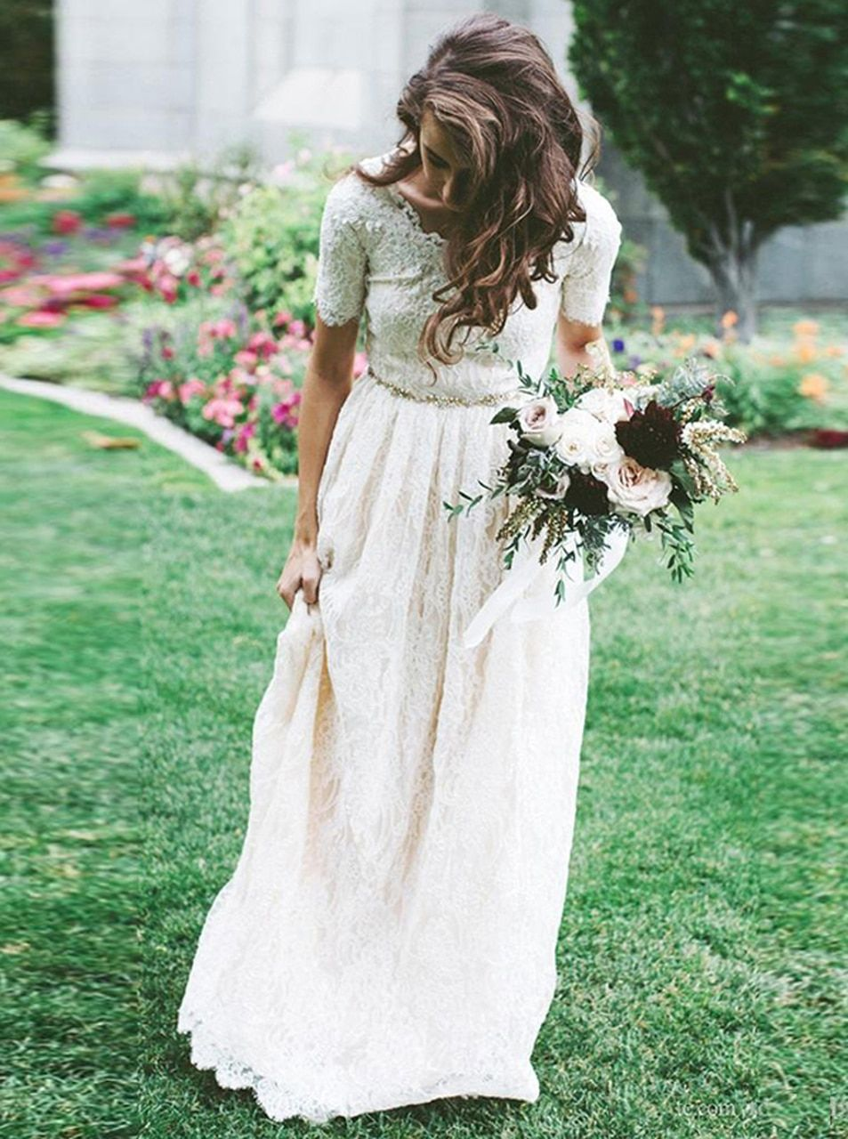 Vintage Lace Wedding Dress With Short Sleeves Modest Bridal Dress With Beaded Belt 12237 Wedding Dresses Lace Bridal Gown Wedding Dresses Lace [ 1280 x 953 Pixel ]