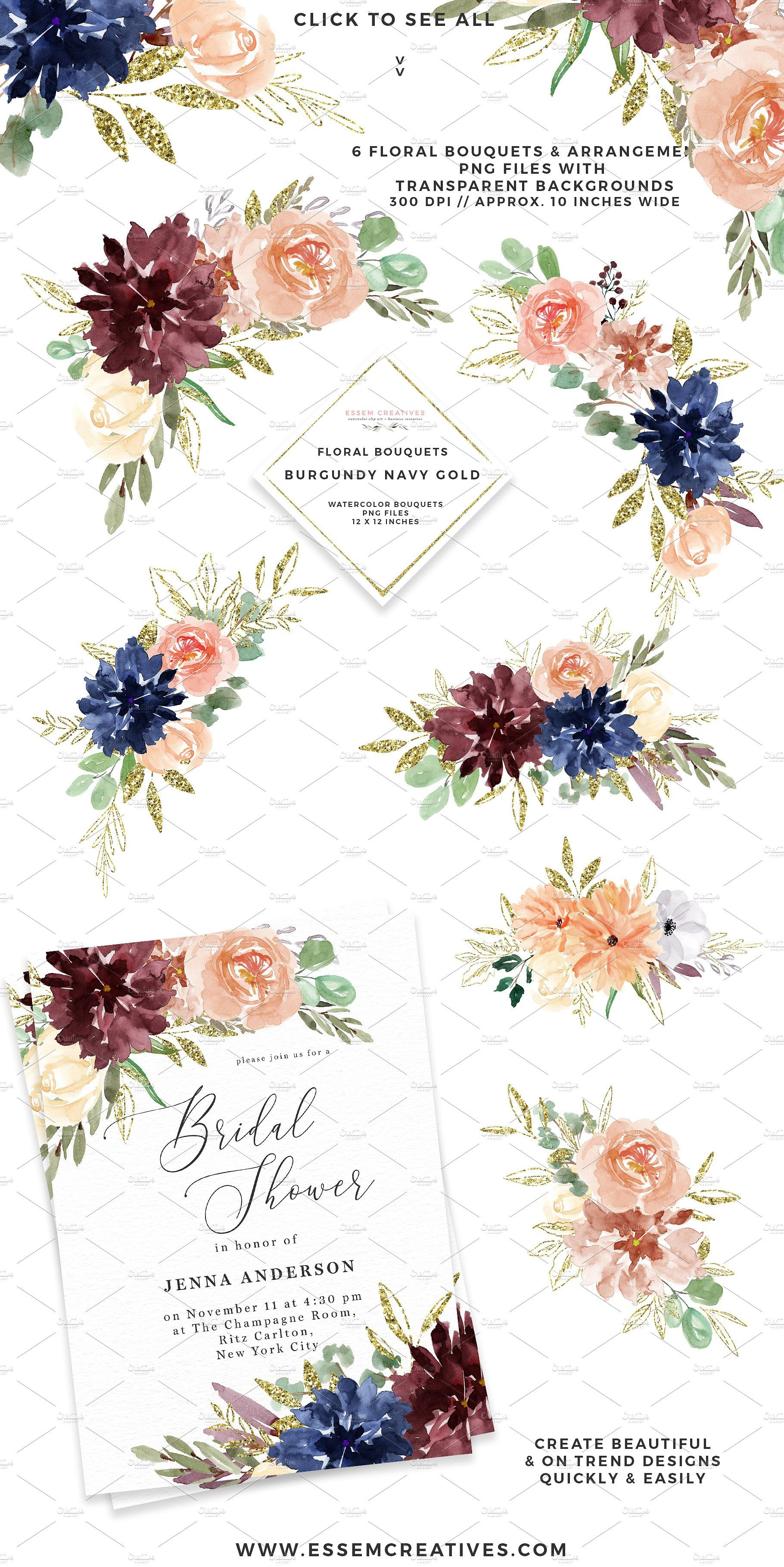 BURGUNDY NAVY GOLD WATERCOLOR FLORAL CLIPART is a set of ...