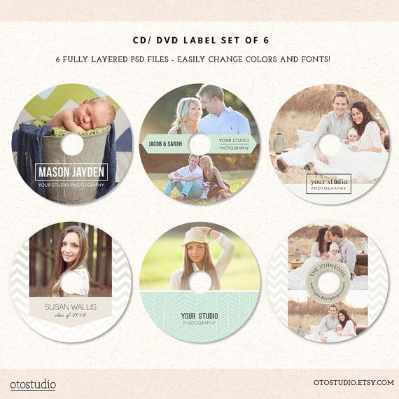 DVD CD Labels Templates for photographers Set of 6 by OtoStudio - cd label