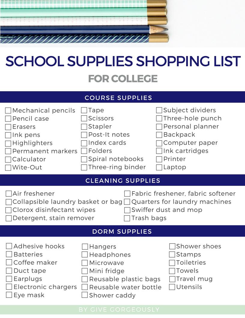 School Shopping List For College School Shopping List Supplies