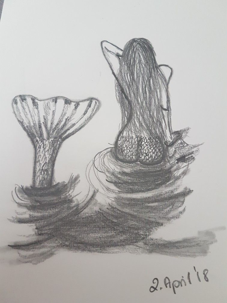 Meerjungfrau Zeichnen Love Moments Art Bleistift Zeichnung
