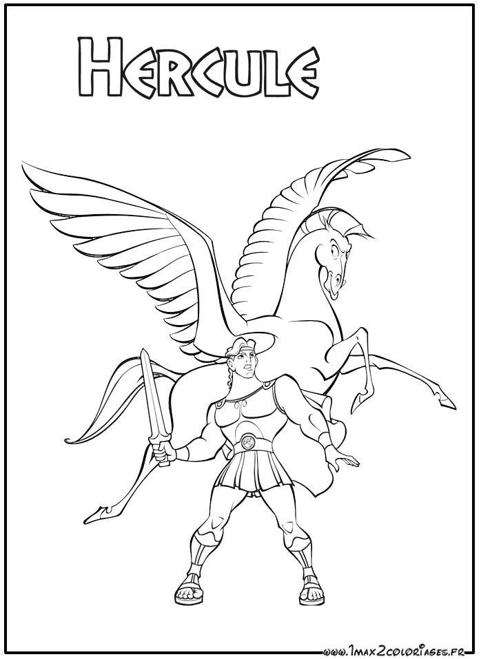 Coloriage Hercule Et Pegase Son Fier Cheval Coloriage Pages De