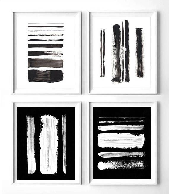 Set of 4 black and white abstract prints printable black and