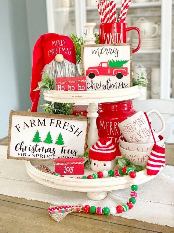 Weihnachten LKW / Weihnachtsbaum Zeichen / Weihnachten Zeichen / 3D Zeichen / Frohe Weihnachten / abgestufte Tablett Dekor / Farmhouse Trucks / Kaffee-Bar   – Christmas