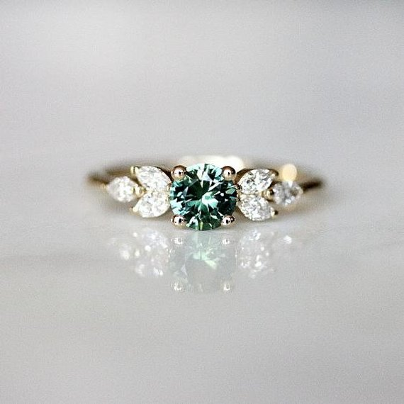 Teal Sapphire Engagement Ring Leaf Engagement Ring Montana