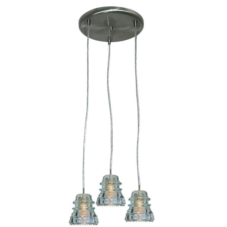 Repurposed industrial glass insulator pendant light three round