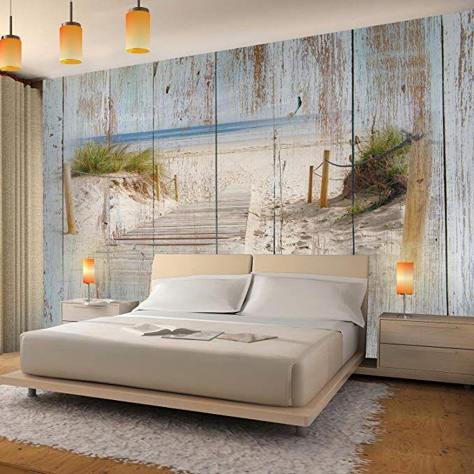 Fototapeten Strand Holzoptik 352 x 250 cm Vlies Wand
