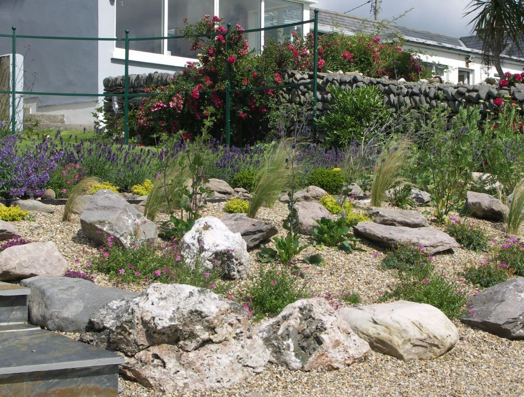 sloping seaside gardens provide the opportunity to include a rock and gravel garden feature this cottage garden by the sea in ventry kerry ireland - Garden Design Kerry
