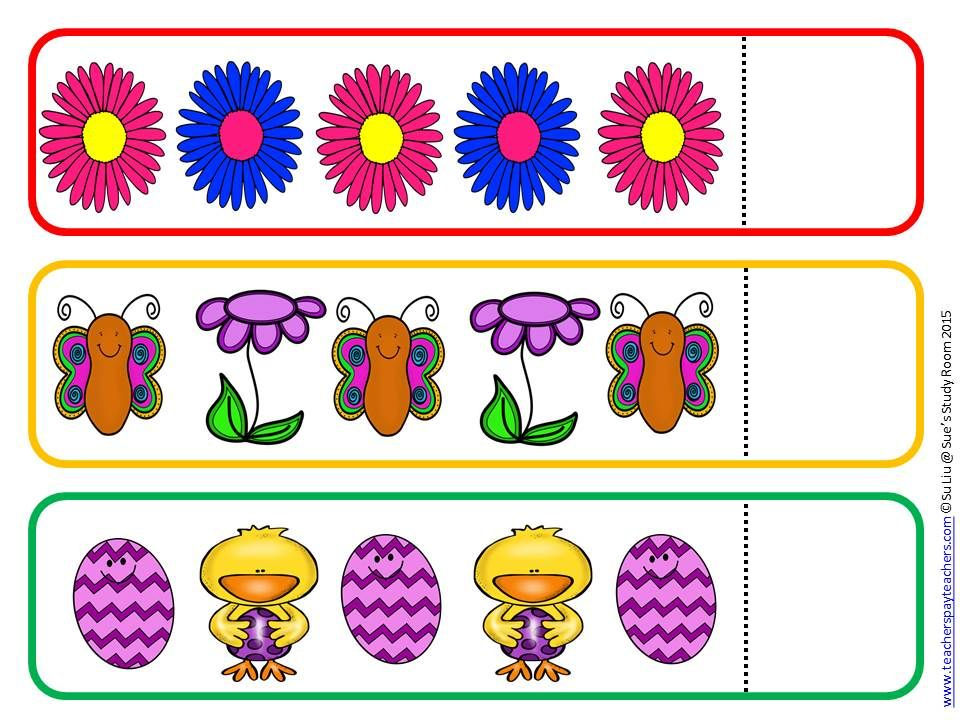 Spring Pattern Cards for Preschool, PreK and K Card