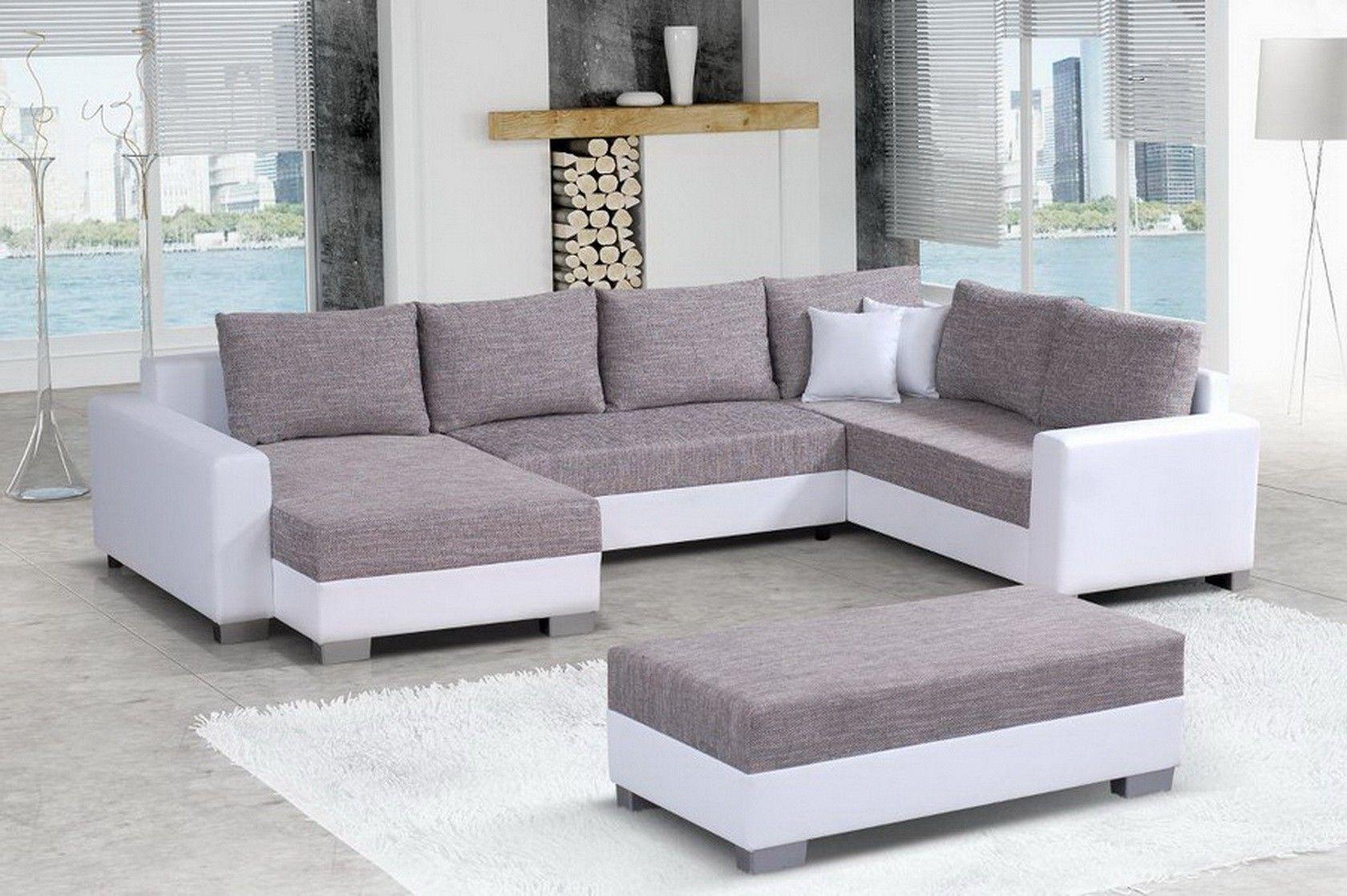 canapé angle gauche pouf en tissu chiné gris et simili cuir