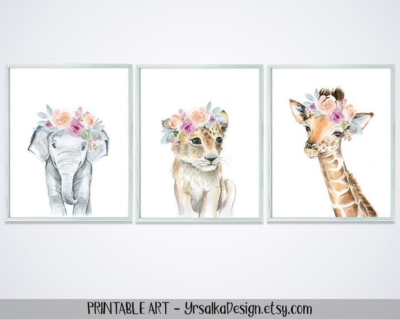 Animal Watercolor Painting Safari Animals Nursery Wall Decor