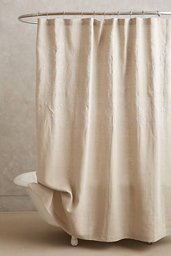 Embroidered Linen Shower Curtain In 2020 Neutral Shower Curtains