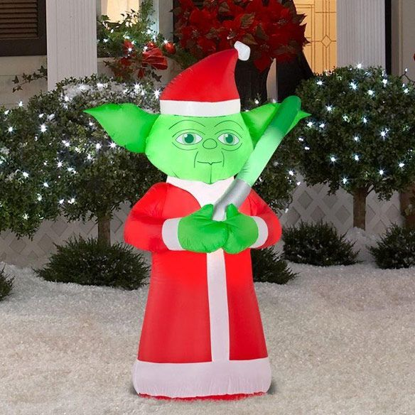Star Wars Yoda Lighted Inflatable Christmas Santa Inflatable Christmas Decorations Inflatable Christmas Decorations Outdoor Holiday Yard Decorations