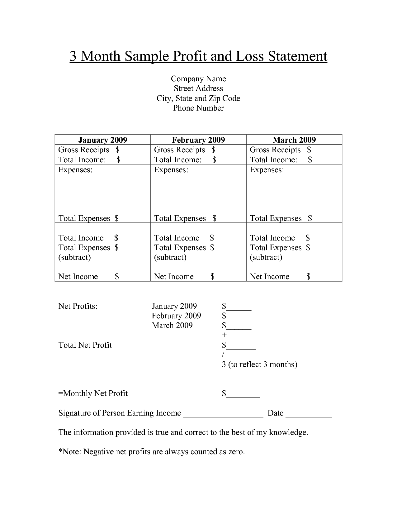 Phone Number Template Profit And Loss Statement Form Printable  Month Sample Profit And .