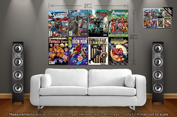 Marvel Comic Book Covers Large Giant Wall Poster Art Print A4 X 8 1 Free A4 Poster On Etsy 12 51 Geek Decor Family Room Game Room