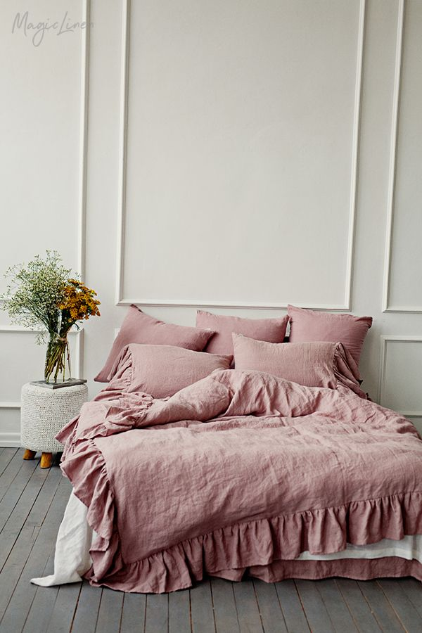 Dusty Pink Ruffled Linen Bedding In 2021 Dusty Pink Bedding Contemporary Bed Linen Bedroom Throw