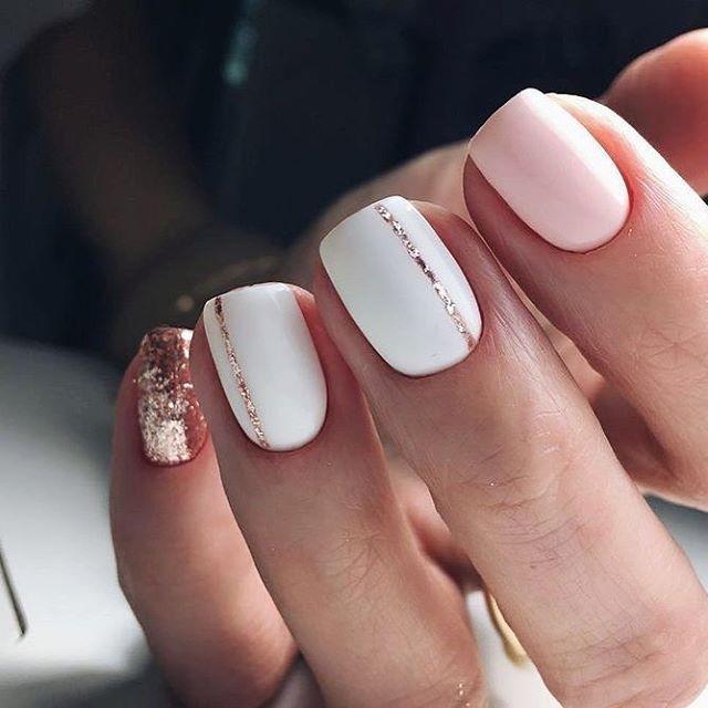 Pretty Nail Art Design White Blush And Glitter Makeup